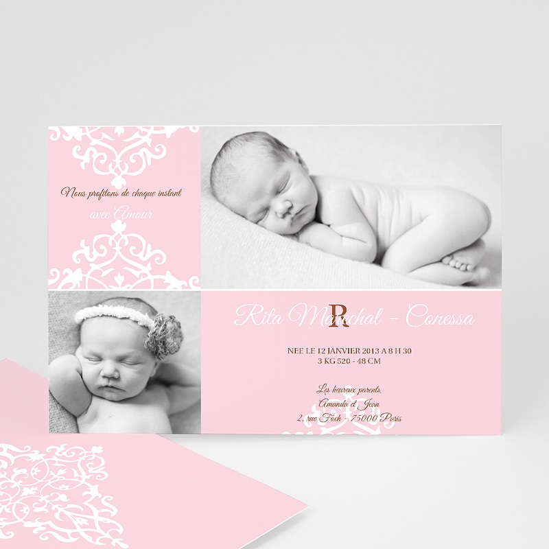 Faire-Part Naissance Fille Design Royal - Rose