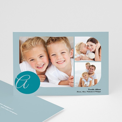 Cartes Multi-photos 3 & + - 3 photos arrondies - bleu 829