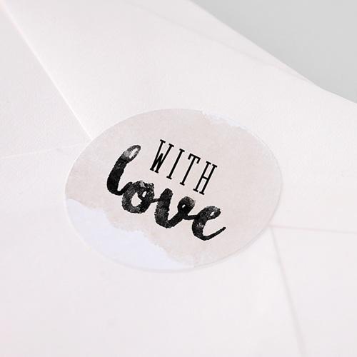 Etiquette Autocollante Mariage With Love, Ø 4,5 cm pas cher
