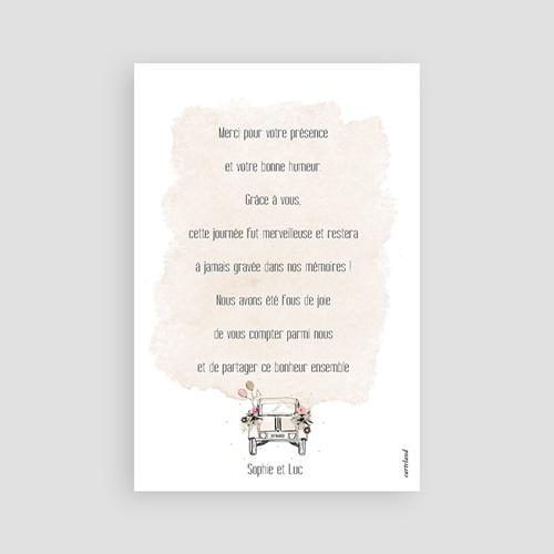 Carte Remerciement Mariage Champêtre 2CV Citroen pas cher