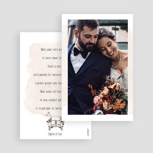 Carte Remerciement Mariage Champêtre 2CV Citroen gratuit