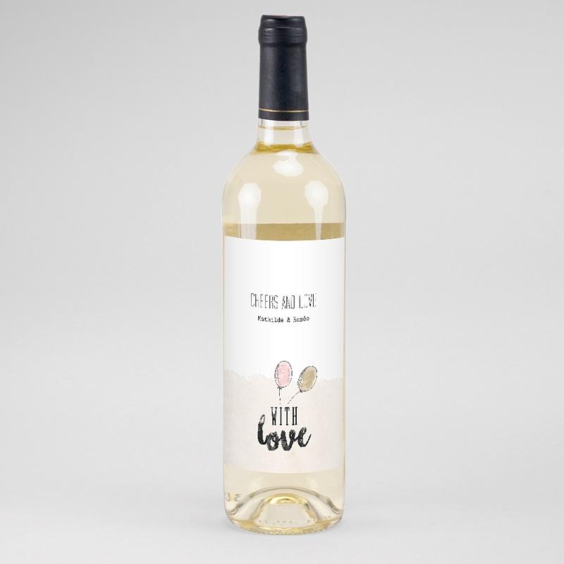 Étiquette bouteille mariage vin With Love, 8 cm x 13 cm