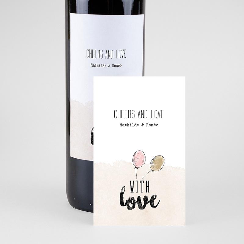 Étiquette bouteille mariage vin With Love, 8 cm x 13 cm pas cher
