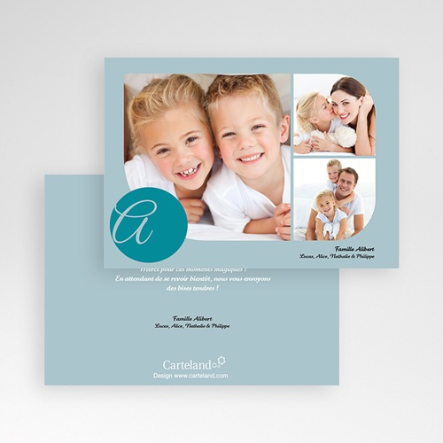 Cartes Multi-photos 3 & + - 3 photos arrondies - bleu 830 preview