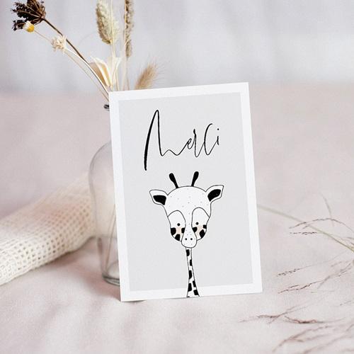 Carte Remerciement Naissance Fille Petite Girafe