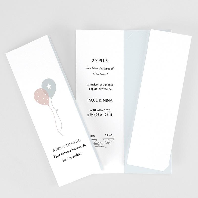 Faire-Part Naissance Jumeaux Ballons, 3 photos, marque-page