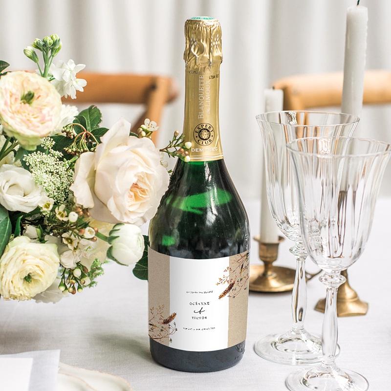 Etiquette Bouteille Champagne Brindilles Champêtres gratuit