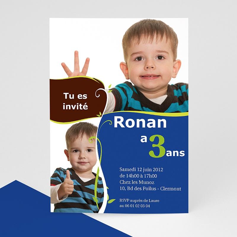 Invitation Anniversaire Garçon - 3 ans bleu 8312 thumb
