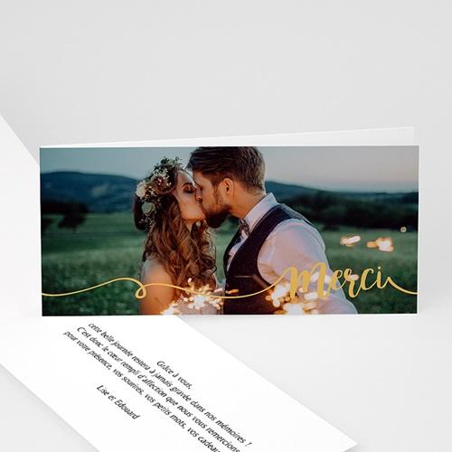 Carte Remerciement Mariage Photo Gris d'Amour, Photo, Dorure