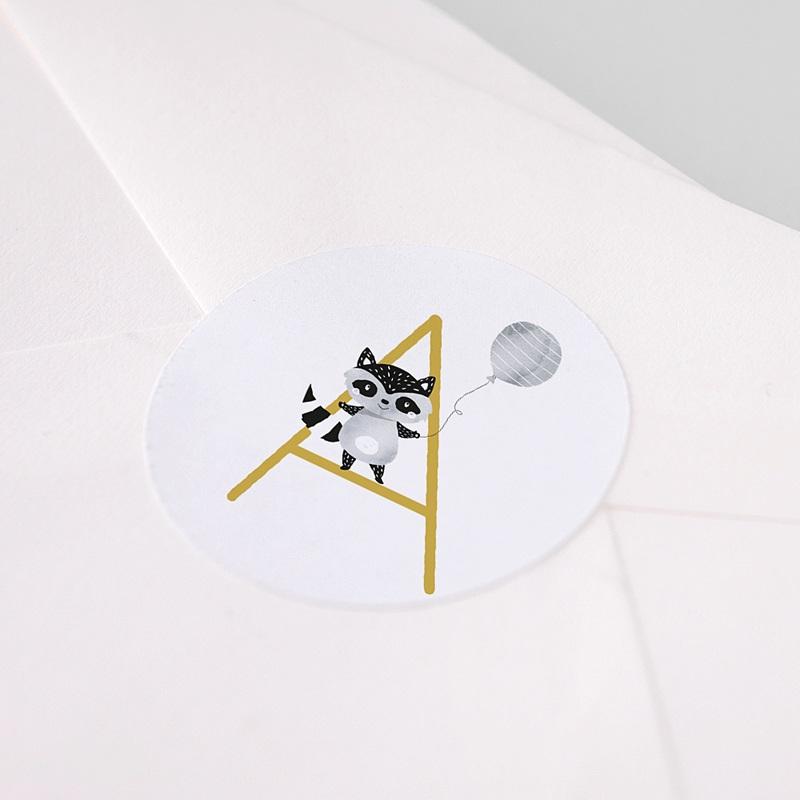 Etiquette Autocollante Naissance Initiale Moutarde, Ø 4,5 cm pas cher