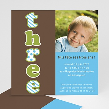 Carte invitation anniversaire garçon three - drei - trois - bleu pas cher