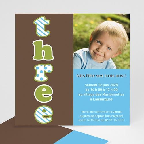 Carte invitation anniversaire garçon Three - Drei - Trois - Bleu