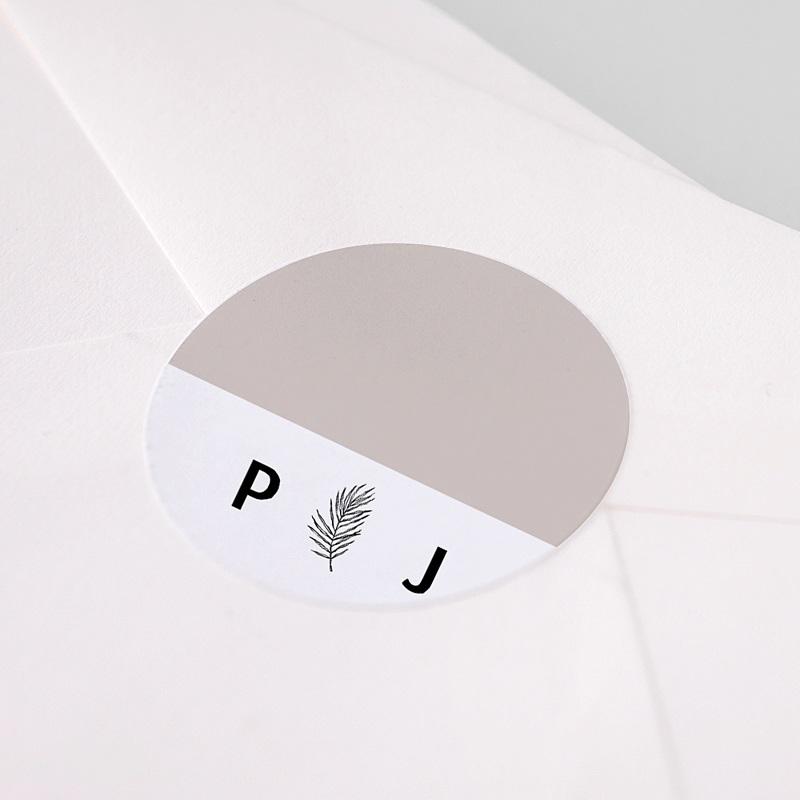 Etiquette Autocollante Mariage Moka Creme, Ø 4,5 cm pas cher