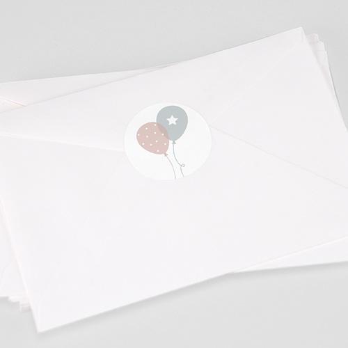 Etiquette Autocollante Naissance Ballons, Jumeaux, Ø 4,5 cm