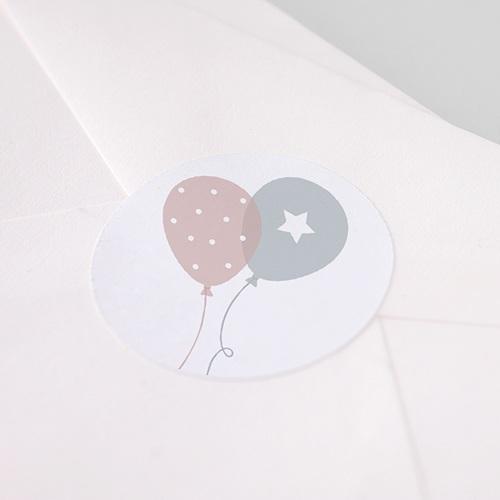 Etiquette Autocollante Naissance Ballons, Jumeaux, Ø 4,5 cm pas cher