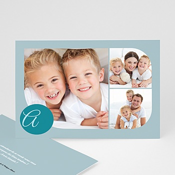 Cartes Multi-photos 3 & + - 3 photos arrondies - bleu - 3