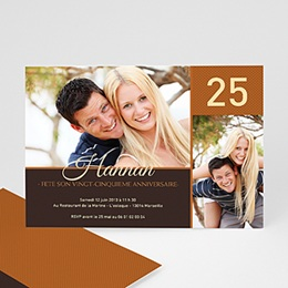 Carte invitation anniversaire adulte Couleur Caramel