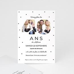 Carte Invitation Anniversaire Adulte - Chiffres 40, photos, 10 x 15 cm 83356