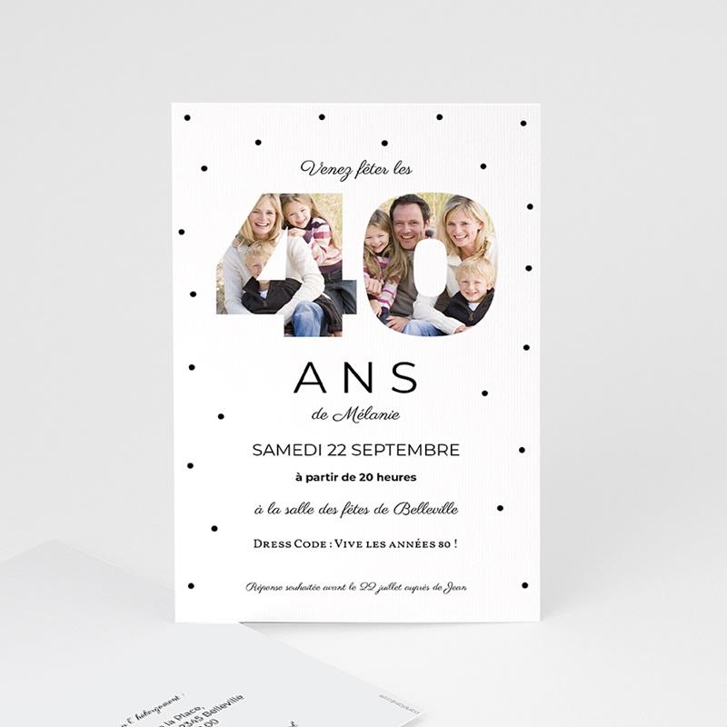 Carte Invitation Anniversaire Adulte Chiffres 40, photos, 10 x 15 cm