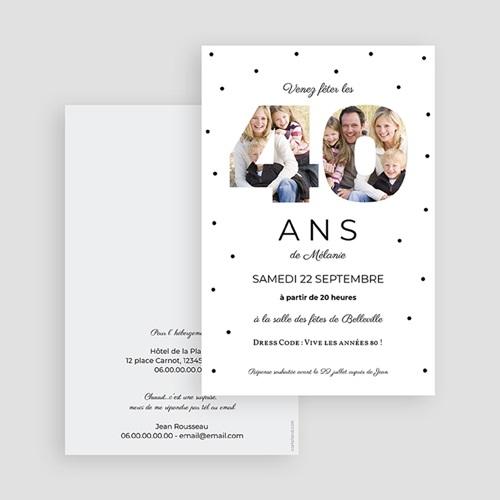 Carte Invitation Anniversaire Adulte Chiffres 40, photos, 10 x 15 cm gratuit