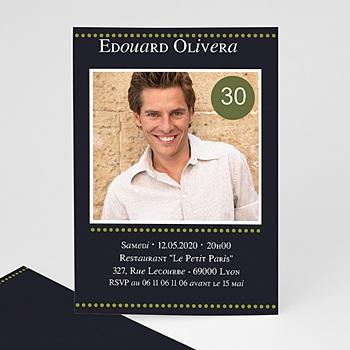 Carte invitation anniversaire adulte pois verts personnalisable