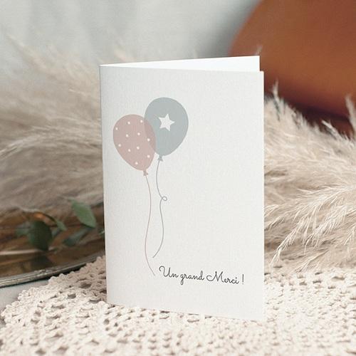 Carte Remerciement Naissance Jumeaux Ballons, 3 photos, 2 volets