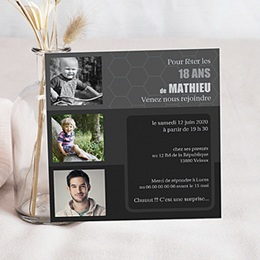 Carte invitation anniversaire adulte High Tech
