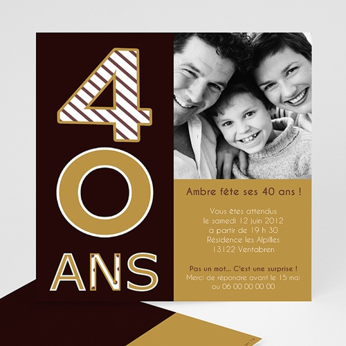 Invitation Anniversaire Adulte - 40 ans - Chocolat & Or 8352