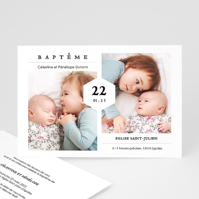 Faire-Part Baptême Frère et Soeur Fête de Baptême, deux photos, 16,7 x 12