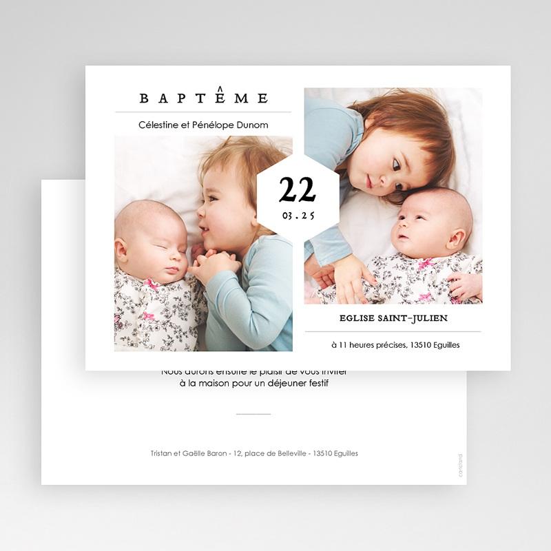 Faire-Part Baptême Frère et Soeur Fête de Baptême, deux photos, 16,7 x 12 gratuit