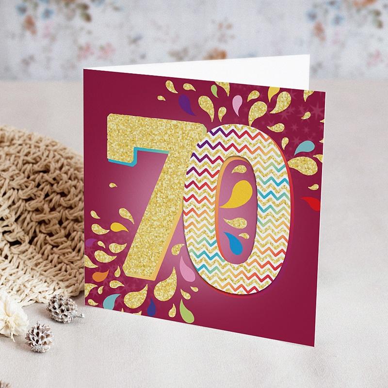 Carte Invitation Anniversaire Adulte Collage 70 ans, 1 photo, Vernis 3D