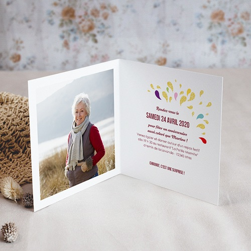 Carte Invitation Anniversaire Adulte Collage 70 ans, 1 photo, Vernis 3D pas cher