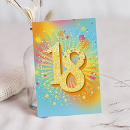 Carte Invitation Anniversaire Adulte - Collage 18 ans, Vernis 3D, 12 x 16,7 83540