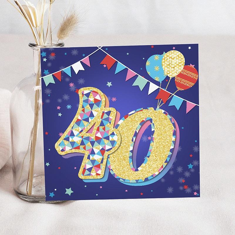 Carte Invitation Anniversaire Adulte Collage 40 ans, Vernis 3D, 14,5 x 15