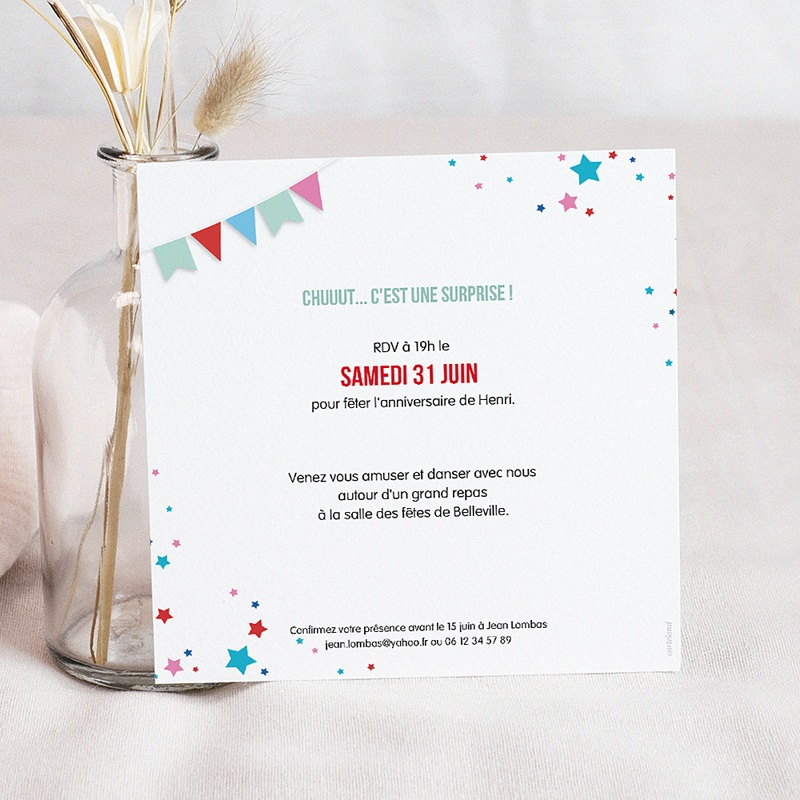 Carte Invitation Anniversaire Adulte Collage 40 ans, Vernis 3D, 14,5 x 15 pas cher
