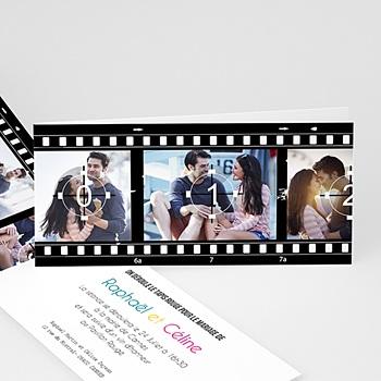 Faire part mariage noir et blanc - Modèle Cinéma - 3
