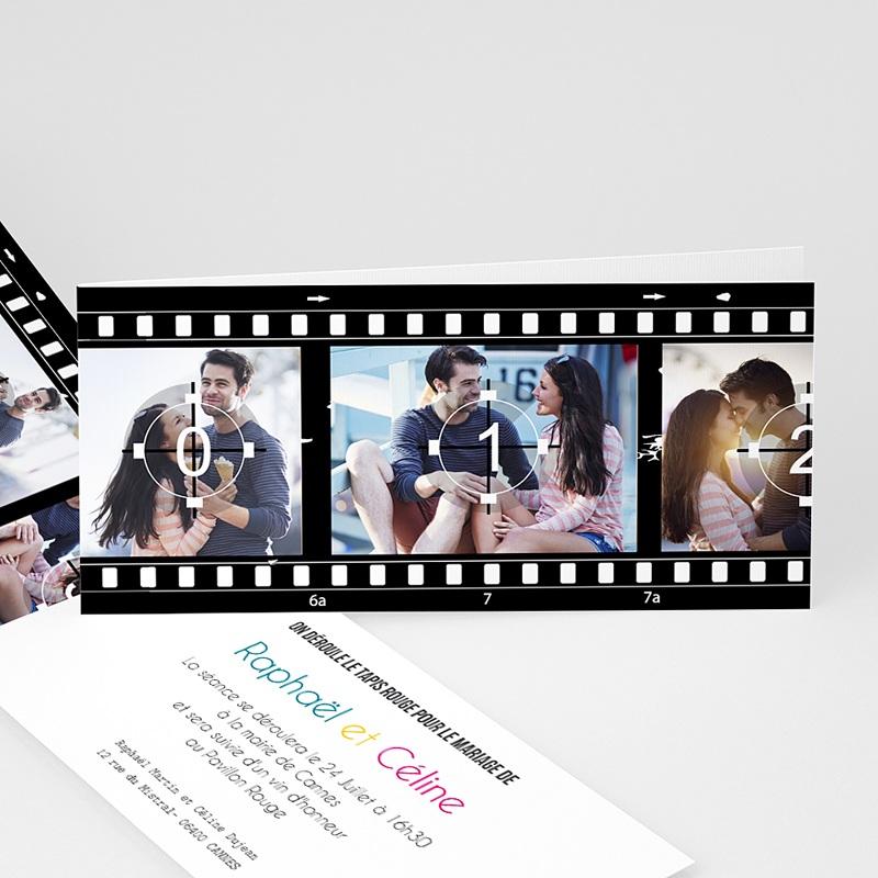 Faire-part mariage noir et blanc Modèle Cinéma