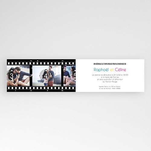 Faire part mariage noir et blanc - Modèle Cinéma 8361 thumb