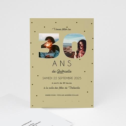 Carte invitation anniversaire 30 ans Chiffres 30, Photos, 10 x 15