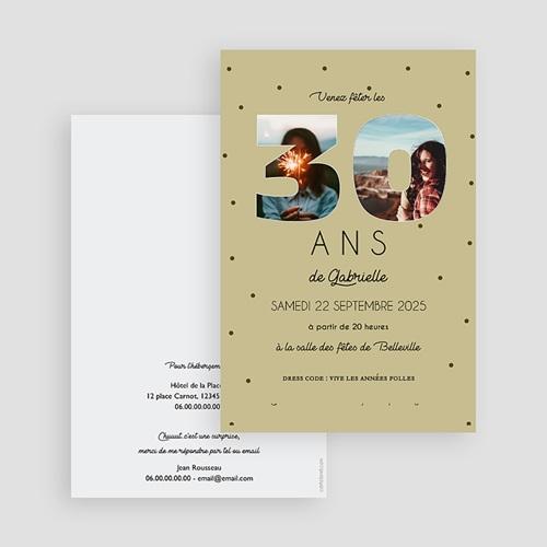 Carte invitation anniversaire 30 ans Chiffres 30, Photos, 10 x 15 gratuit