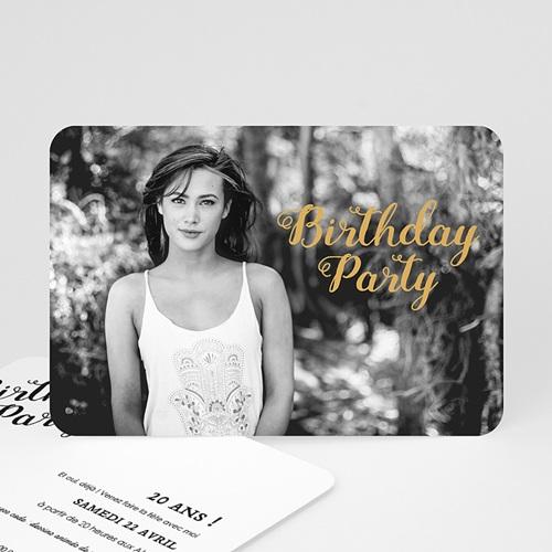 Carte invitation anniversaire 20 ans Birthday dorure, Photo, 16,7 x 12
