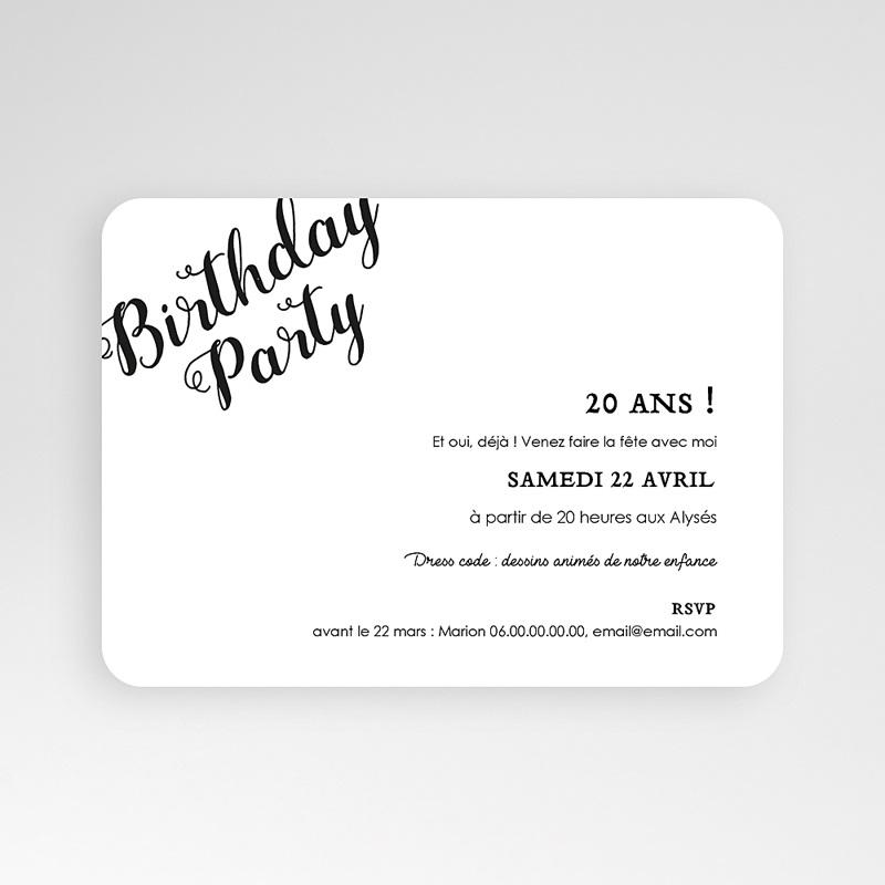 Carte invitation anniversaire 20 ans Birthday dorure, Photo, 16,7 x 12 pas cher