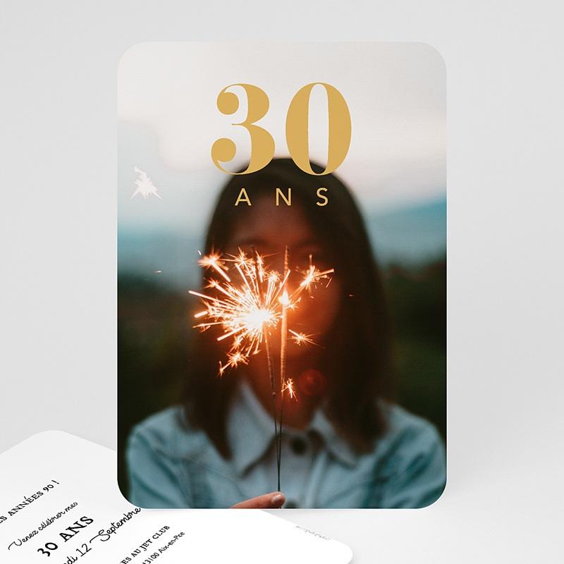 Carte invitation anniversaire 30 ans 30 ans dorure, photo, coins arrondis