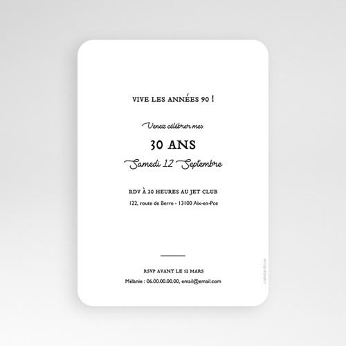 Carte invitation anniversaire 30 ans 30 ans dorure, photo, coins arrondis pas cher