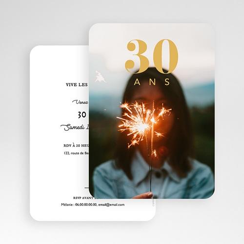 Carte invitation anniversaire 30 ans 30 ans dorure, photo, coins arrondis gratuit