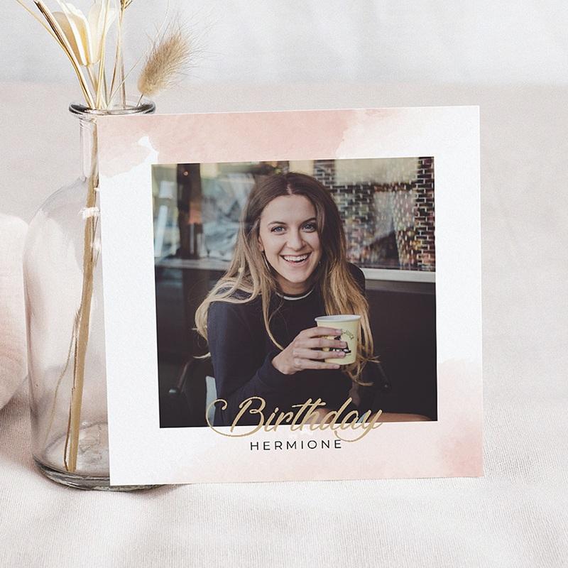 Carte invitation anniversaire 30 ans Rose poudré, dorure, 14,5 x 15