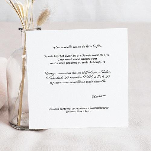 Carte invitation anniversaire 30 ans Rose poudré, dorure, 14,5 x 15 pas cher