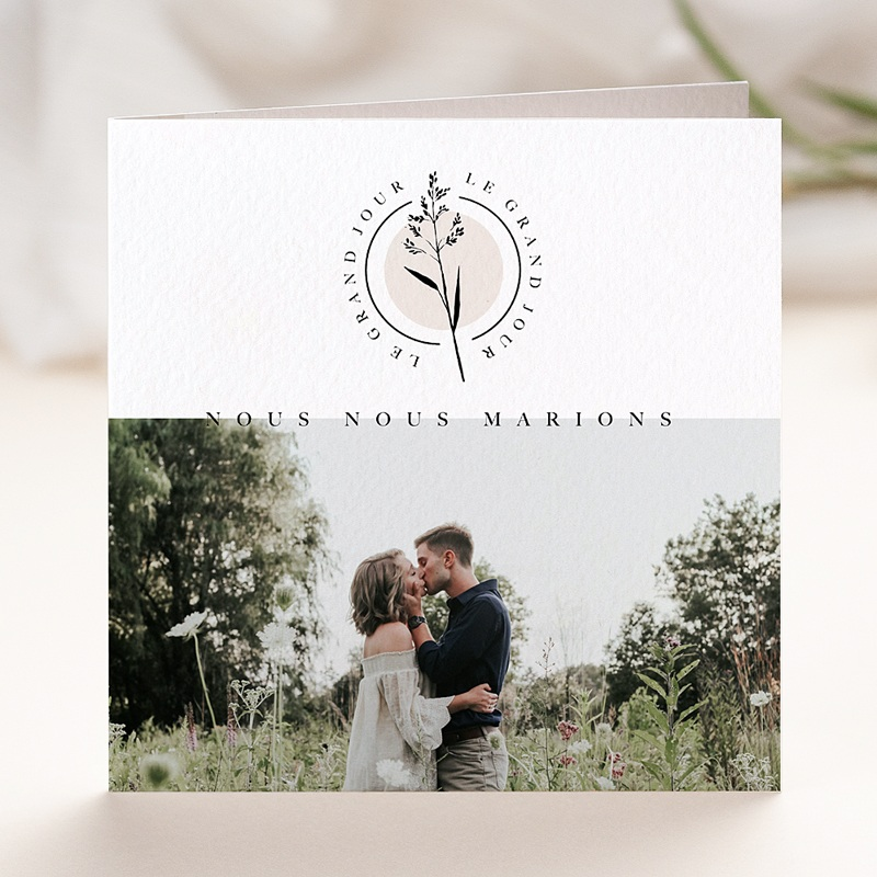Faire-Part Mariage Nature Au Naturel, photo, 2 volets