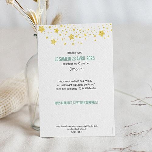 Carte Invitation Anniversaire 90 Ans Festive Vernis 3d 90 Ans Echantillon Offert Carteland