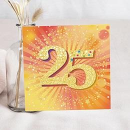 Carte Invitation Anniversaire Adulte - 25 ans Disco, Vernis, Carré 83733